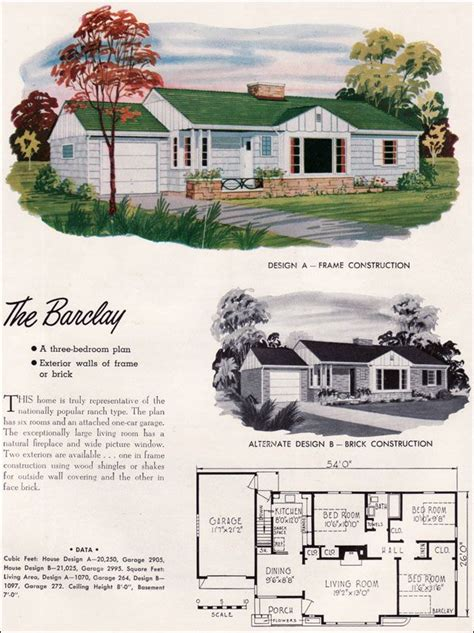 Mid Century Ranch House Plans by Mid Century Modern House Plans 1952 National Plan