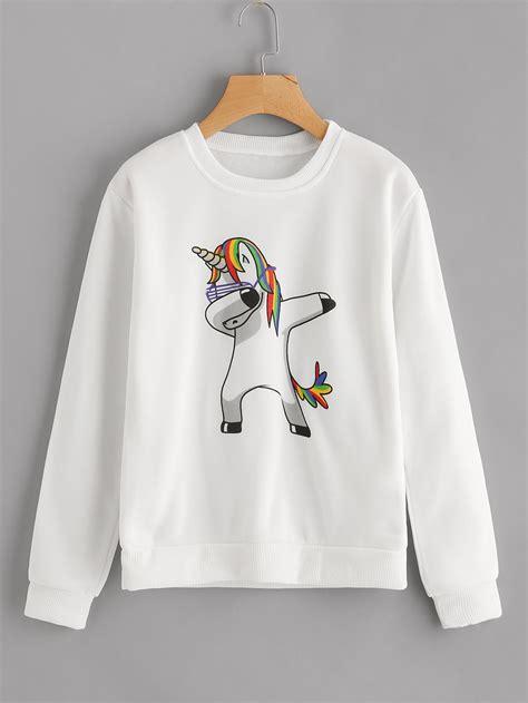 Unicorn Sweatshirt unicorn print sweatshirt shein sheinside