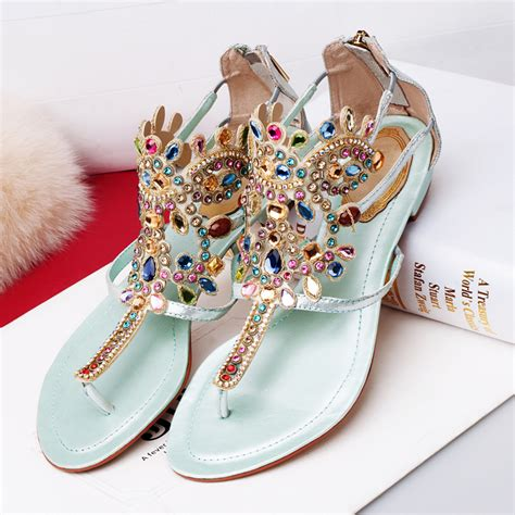 Sandal Bigsize 2015 new design summer flat shoes bohemia style gold