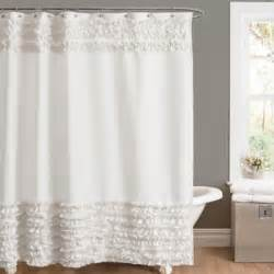 Feminine Shower Curtains Amelie Ruffle 54 Inch X 78 Inch Shower Curtain In White Bedbathandbeyond Casey Would Kill