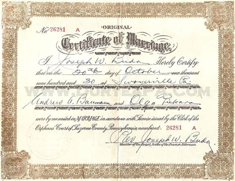 Pa Marriage Records Pa Marriage Certificates