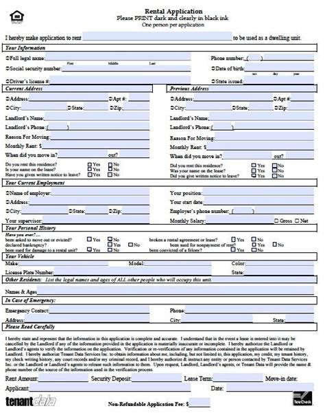 printable sample rental application template form rental