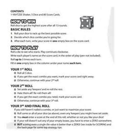 yahtzee rules printable yahoo image search results