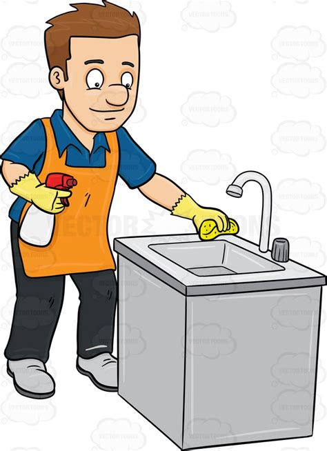 cleaning kitchen a polishing the kitchen sink clipart vector