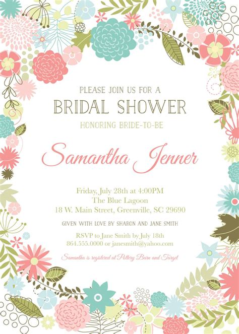 template undangan shabby chic retro modern flowers bridal baby shower invitations