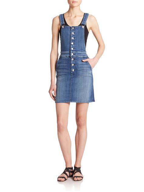 Overall Dress Denim lyst 7 for all mankind denim overall dress in blue