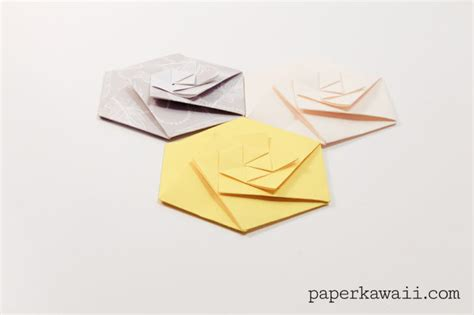 Origami Hexagon - origami hexagonal envelope tutorial paper kawaii