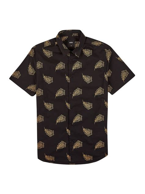 Feather Print Sleeve Shirt black and gold sleeve feather print shirt mens