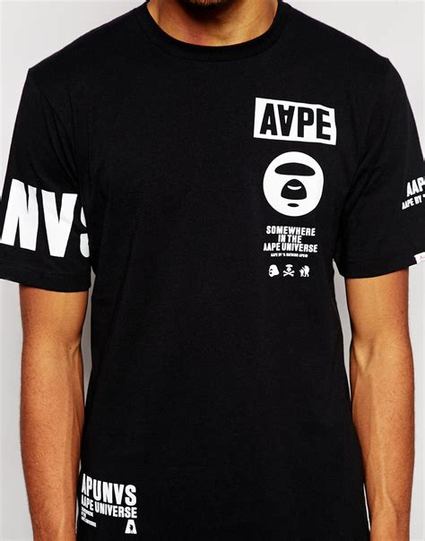 T Shirt Ape aape by a bathing ape t shirt with sleeve print in black for lyst