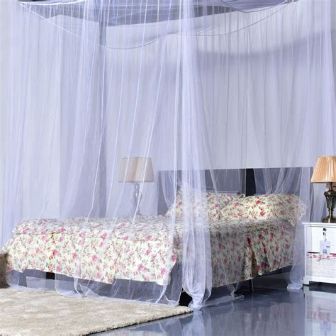 Bed Canopy 4 Corner Post Bed Canopy Mosquito Net King Size Netting Bedding White Ebay