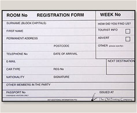guest registration form template guest registration packs cards our products the