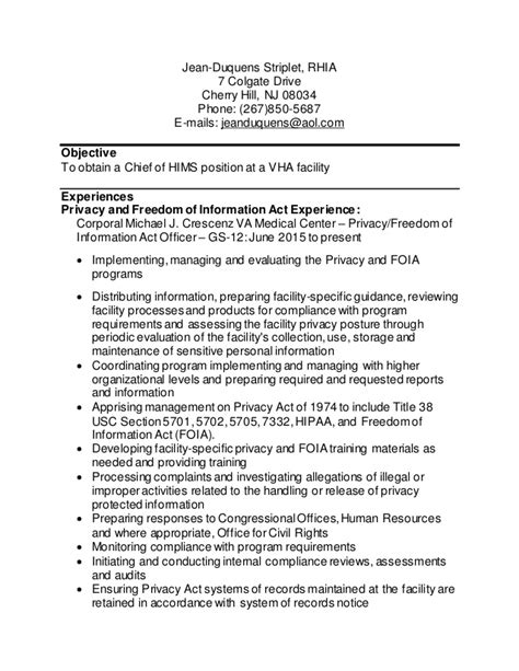 health informatics resume health information management resume exle resume responsibilities