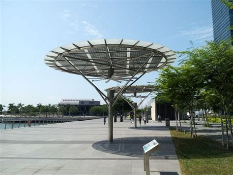 solar powered outdoor fans breeze shelters in marina bay sands singapore by big