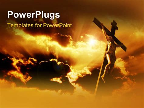 powerpoint themes jesus powerpoint template jesus on the holy cross with clouds