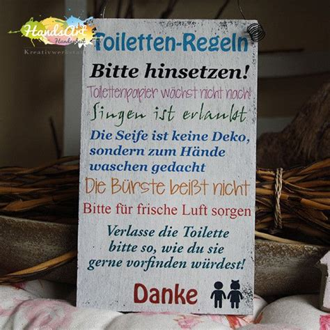 Badezimmer Deko Dawanda by Deko Objekte Shabbyschild Quot Toiletten Regeln