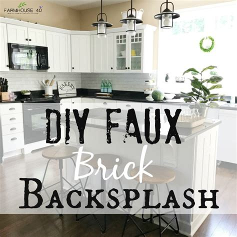 diy kitchen faux brick backsplash farmhouse 40
