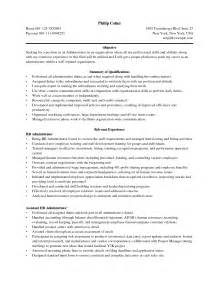 Sle Resume For Administration by Business Admin Resume Free Excel Templates