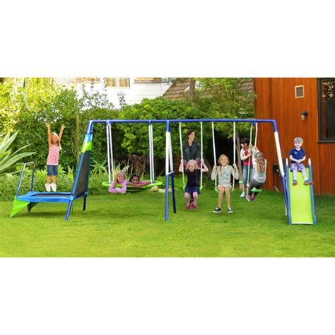 swing sets from walmart sportspower mountain view metal swing slide and