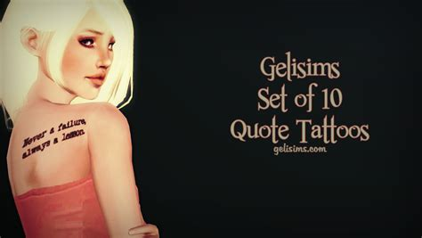 my sims 3 quote tattoos by gelisims