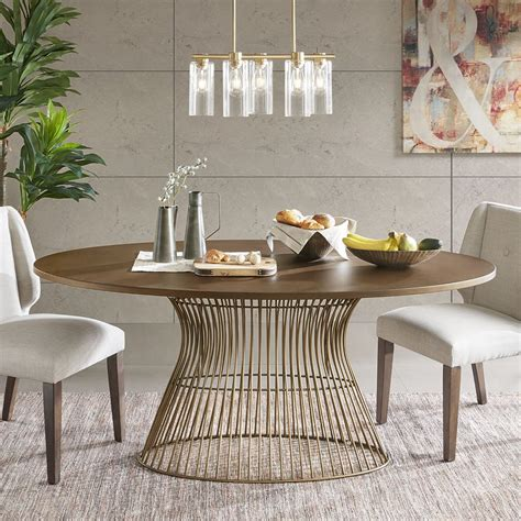 inkivy mercer dining oval solid wood tabletop metal wire