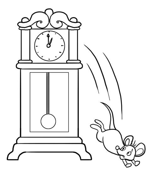 Hickory Dickory Dock Coloring Pages free coloring pages of hickory dickory dock
