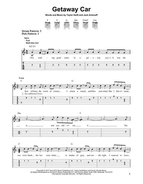 taylor swift chords getaway car getaway car by taylor swift easy guitar tab guitar