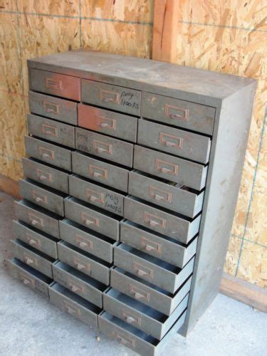 Vintage Industrial Metal Tool Cabinet Chest Storage Small