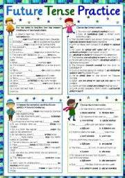 english worksheet future tense practice part 2