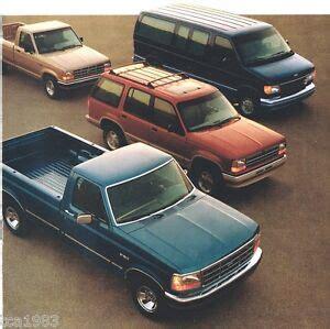 1992 ford trucks brochure f series 150 ranger explorer bronco van xlt aerostar ebay