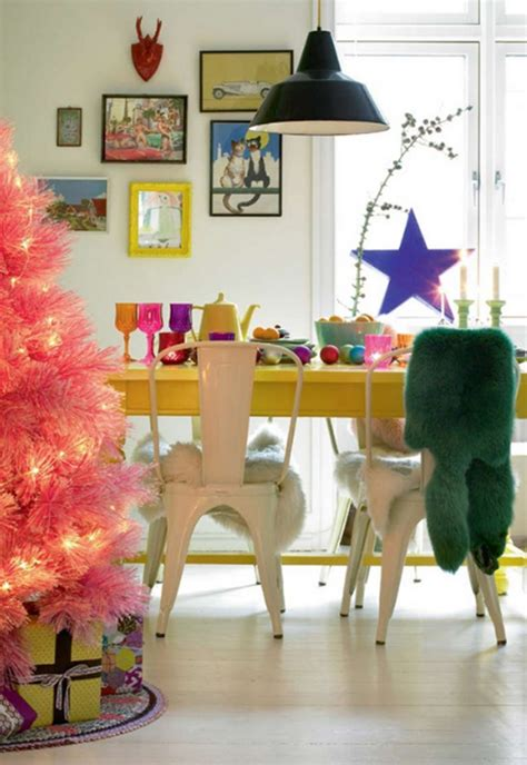 Pink Dining Room Chairs by Cute And Beautiful Pink Christmas Tree With Dining Room Ideas