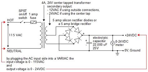 24 volts power supply circuit diagram 24v dc power supply diy