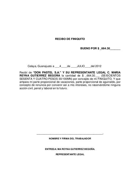formato legal de carta de renuncia y recibo de pago de finiquito formato carta de renuncia laboral por motivos personales