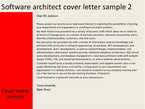 Database Architect Cover Letter by Software Architect Cover Letter