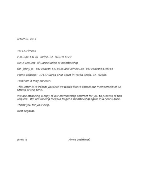 cancellation letter fitness cancellation letter la fitness