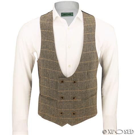 breasted vest mens waistcoat breasted u cut herringbone tweed