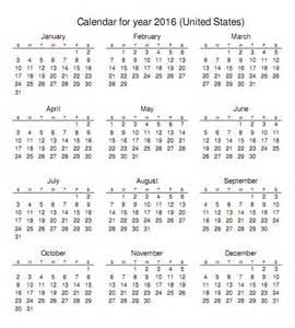 2016 calendar with holidays printable one page calendar