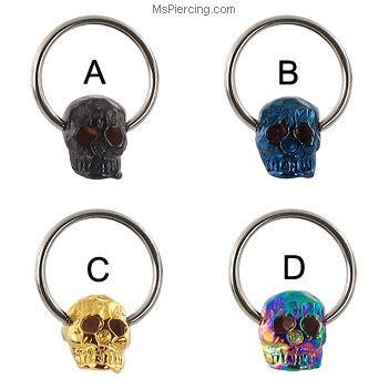 skull captive bead ring captive bead ring with skull 16 ga at mspiercing