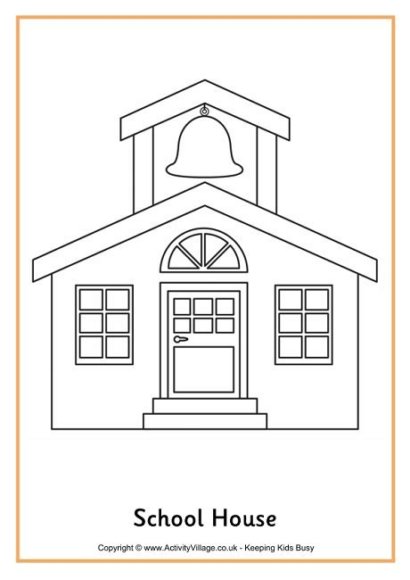 printable school house template school house colouring page 2