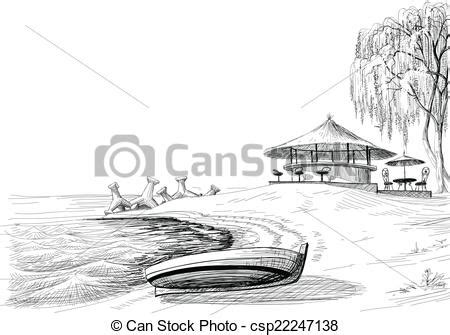 how to draw a boat on shore beach bar sketch boat on shore vector
