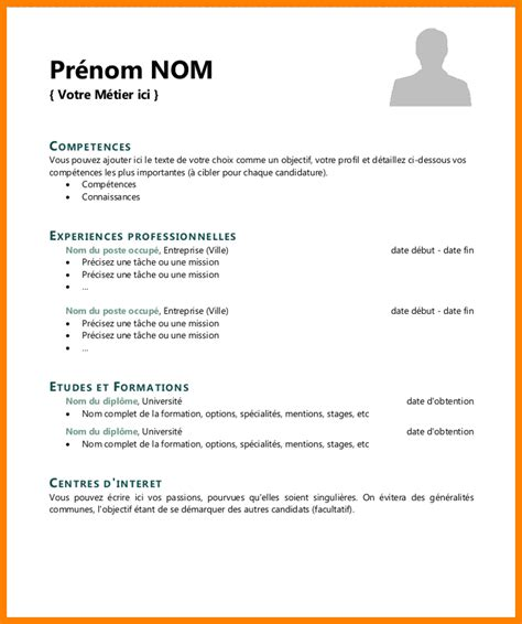 Cv Francais Simple by Modele Simple Cv Comment 233 Crire Un Cv En Fran 231 Ais