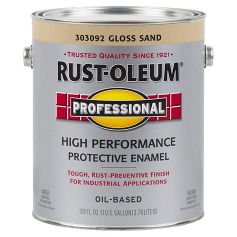 rust oleum professional 1 gal sand gloss protective enamel spray paint of 2 303092 the