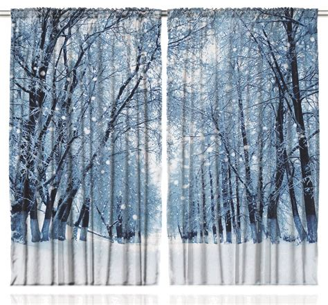 Winter Window Curtains Woodsy Park Decor Snowy Forest Trees Winter Design Scenery