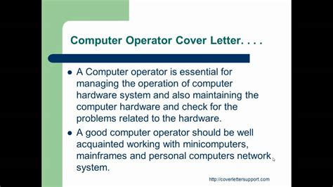 cover letter for computer operator computer operator cover letter