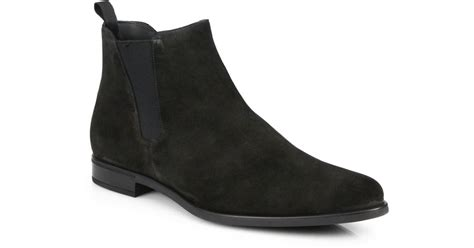 prada suede chelsea boots in black for lyst