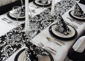 black and white table runner floral damask wedding table