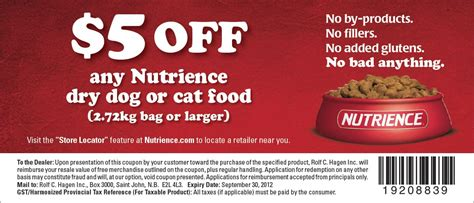 dog food coupons canada nutrience details