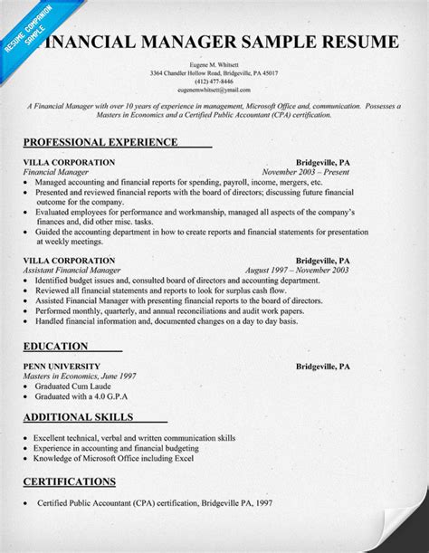 career objective for finance manager financial manager resume sle resume sles across