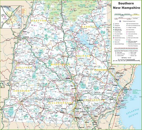 map of southern nh click to see large