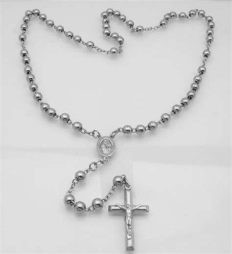 6mm mens platinum clad 925 silver rosary chain necklace