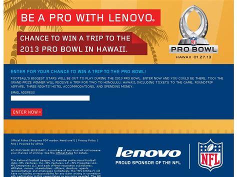 Pro Bowl Sweepstakes - lenovo 2013 pro bowl sweepstakes at etailers